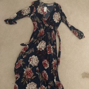 Boutique floral maxi wrap dress